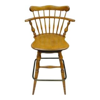 Ethan Allen Heirloom Nutmeg Maple Birch Wood Swivel Bar Stool Chair 10-6095 B