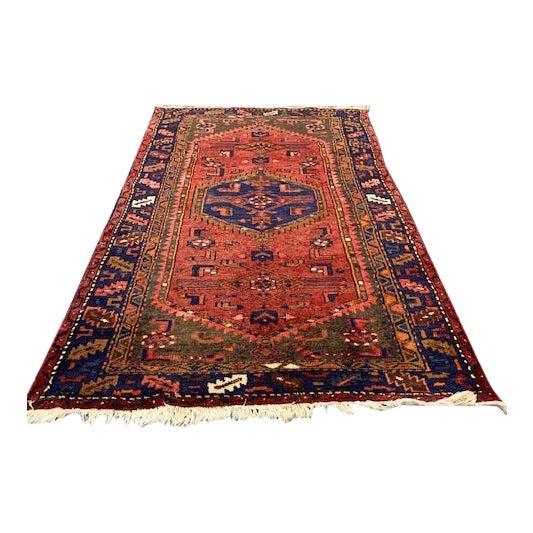 Vintage Orange, Red, Blue Hamadan Wool Rug For Sale