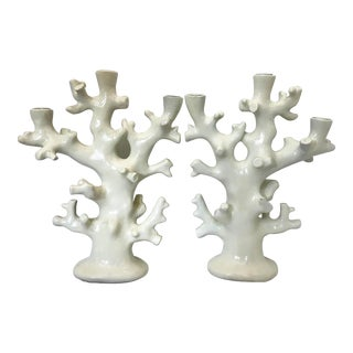 Vintage Palm Beach Regency Coral Shaped Taper Candle Holders, 1970s - a Pair For Sale