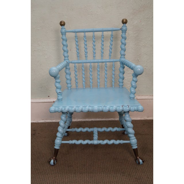 Blue Antique Barley Twist Arm Chair Merklen Brothers - Image 2 of 10