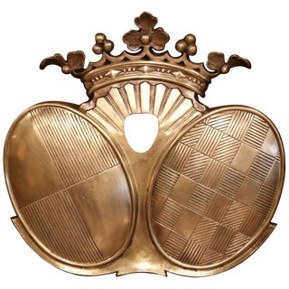19th Century French Napoleon III Patinated Bronze Wall Hanging Family Crest For Sale