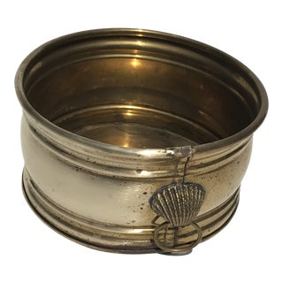 1970s Vintage Brass Shell Detail Planter Pot For Sale