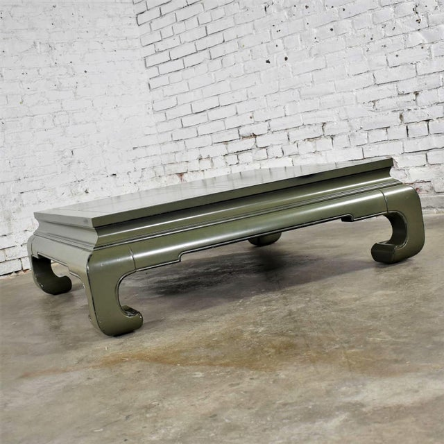 Monumental Square Asian Ming Style Lacquered Coffee Table in Sage Green For Sale - Image 10 of 13