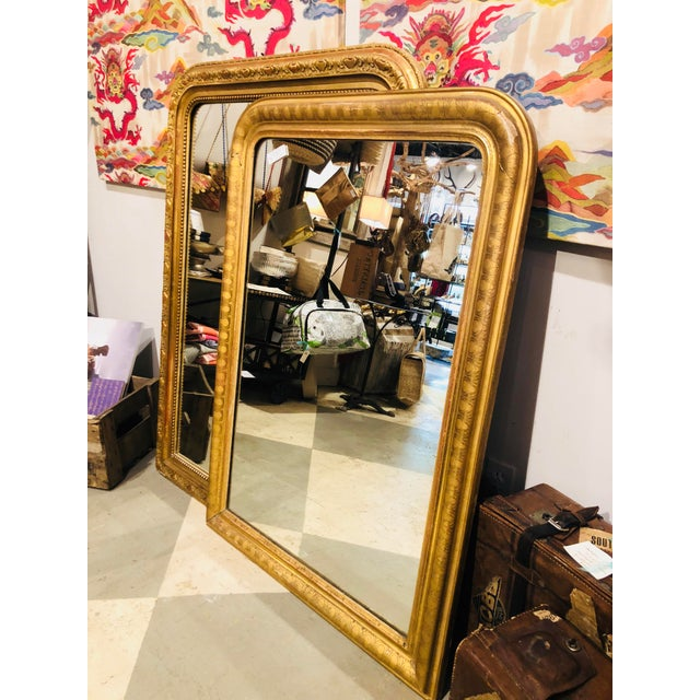 19th Century French Louis Philippe Carved Gilt Mirror With Original Glass For Sale - Image 10 of 12