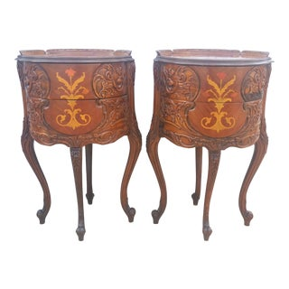 1930s Louis XVI Ornately Carved & Inlaid Night Stands - a Pair For Sale