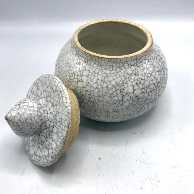 Studio Pottery Signed Crackle Glaze Lidded Ginger Jar For Sale - Image 4 of 13