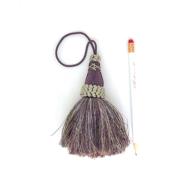 2010s Key Tassels in Amethyst and Gray With Ruche Trim - a Pair For Sale - Image 5 of 12