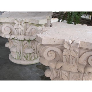 A Large and Dramatic Pair of Mexican Hand-Carved Cantera Stone Corinthian Capitals Preview