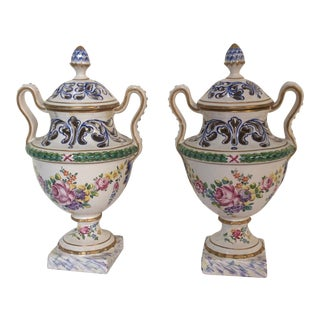 French Faience Potpourri Urns - A Pair For Sale