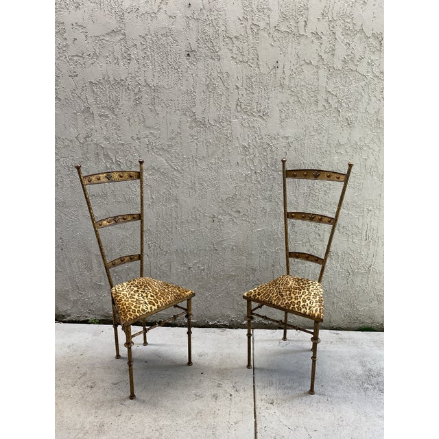 Gold Cheetah Print Giacometti Style Chairs - a Pair For Sale - Image 10 of 11