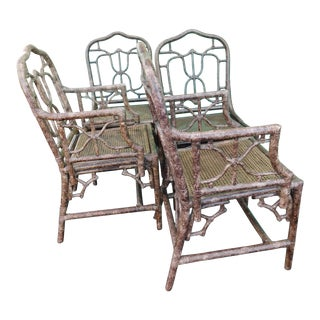 Vintage Robb & Stucky Tortoise Chippendale Chairs - Set of 4 For Sale