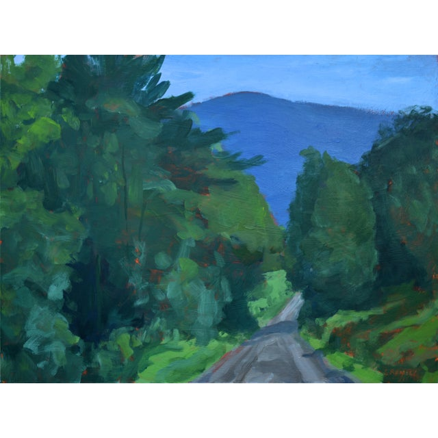 "Stephen Remick ""Vermont Gravel Road With Blue Mountain"" Contemporary 2010s Landscape Painting For Sale - Image 10 of 10"