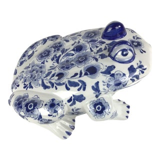 1980s Vintage Blue and White Porcelain Frog Figurine For Sale