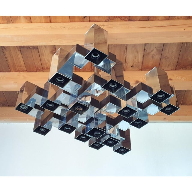 1960s Large Mid-Century Modern Square Chrome 12 Lights Chandelier by Sciolari, 1960s For Sale - Image 5 of 10