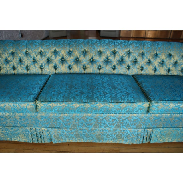 Blue and Gold Tufted Sofa by Howard Palmer for Harmony House For Sale In Chicago - Image 6 of 11