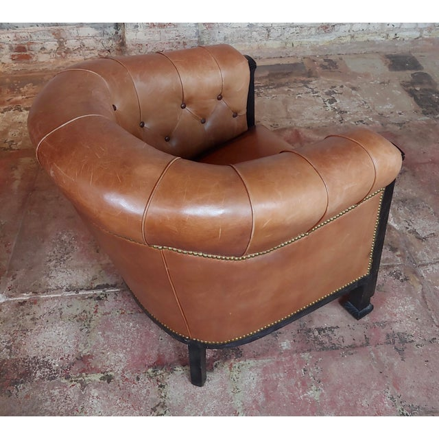 Animal Skin Fabulous Vintage Club Chairs W/Tufted Brown Leather-A Pair For Sale - Image 7 of 11