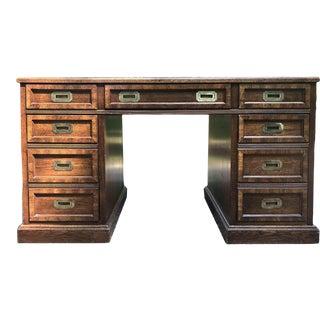 1960s Mid-Century Modern Campaign Partner Desk For Sale