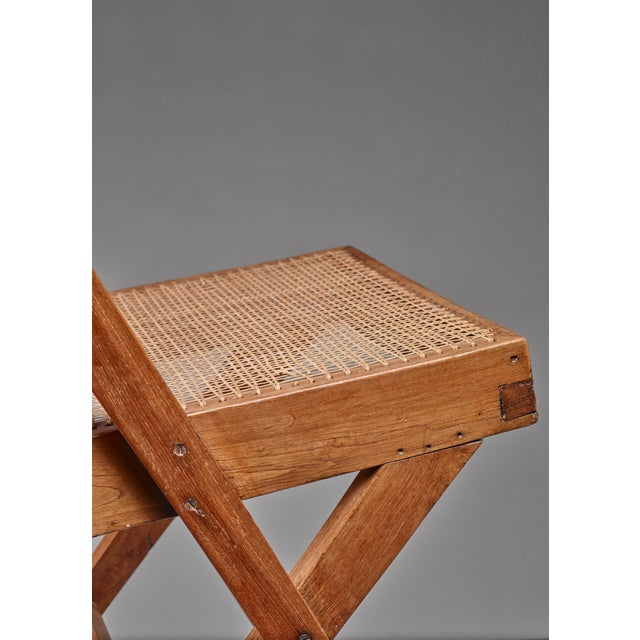 Caning Pierre Jeanneret pair of Chandigarh High Court library chairs, 1950s For Sale - Image 7 of 8