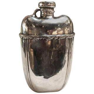 19th Century Edwardian Sterling Silver Flask For Sale