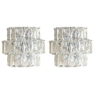 Three-Tier Kinkeldey Crystal Sconces - a Pair For Sale