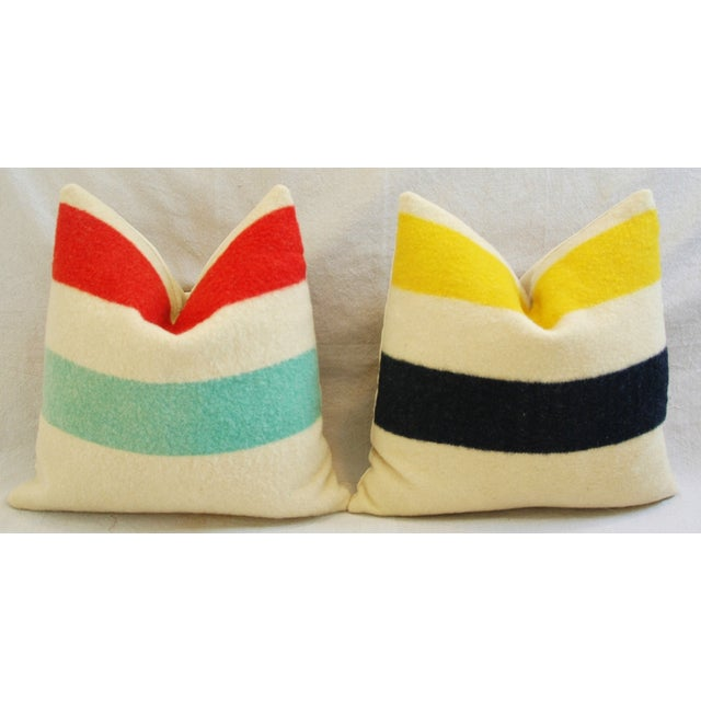 Multi-Striped Hudson's Bay Blanket Pillows - Pair - Image 3 of 11