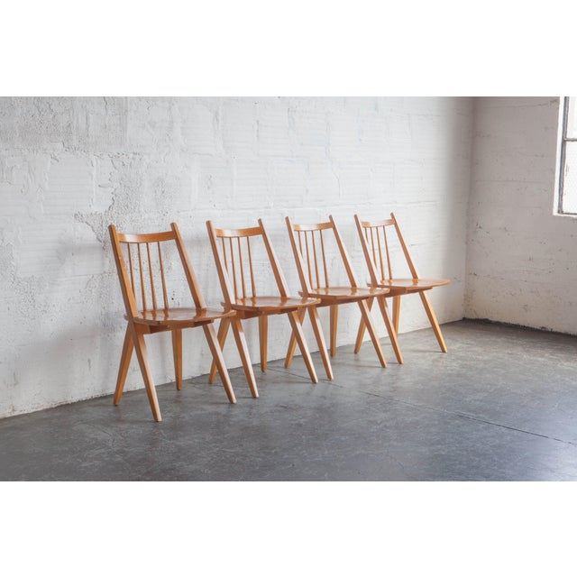 1970s Mid-Century Modern Maple Dining Chairs - Set of 4 For Sale In Portland, OR - Image 6 of 8