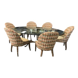 Swaim Dining Room Glass Top Table & Chairs For Sale