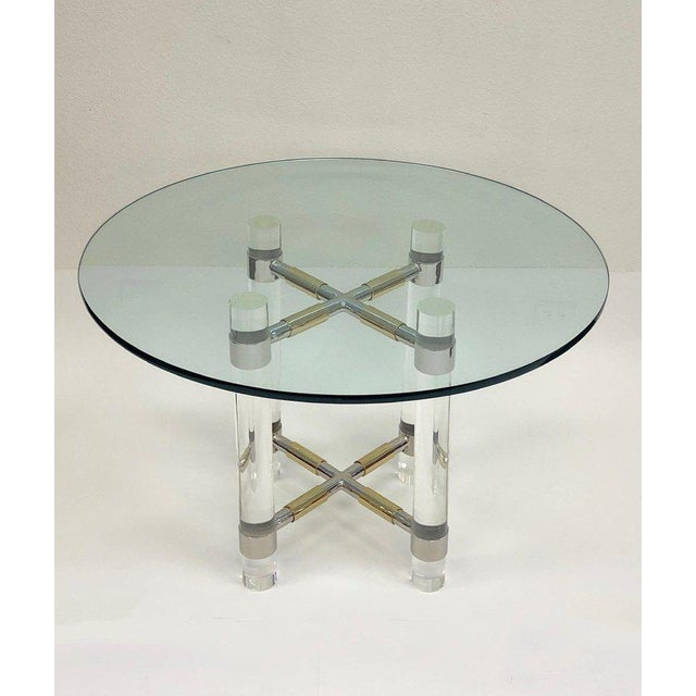 Chrome and Polish Brass Continental Height Table by Charles Hollis Jones For Sale - Image 9 of 10