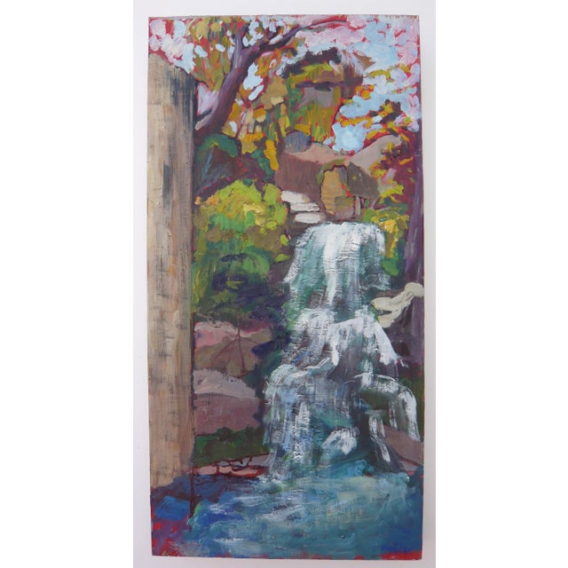 """Waterfall in the Japanese Garden"" Oil Painting - Image 6 of 6"