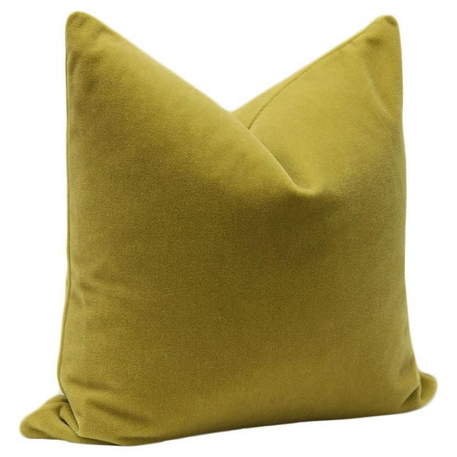 "22"" Mohair Velvet Pillows in Chartreuse - a Pair - Image 3 of 5"
