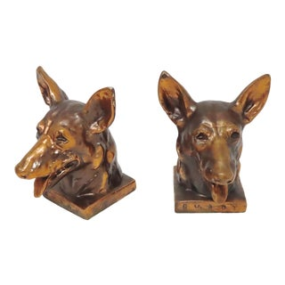 Vintage Bronzed Metal Buddy the Original Seeing Eye Dog Bookends For Sale