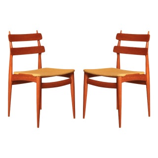 Switzerland 1950s Swiss Teak Side Chairs - A Pair For Sale