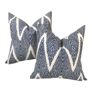 Boho Chic Indigo and Cream Chevron Pillows - a Pair