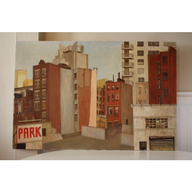 Canvas Vintage Cityscape Acrylic Painting on Canvas For Sale - Image 7 of 7