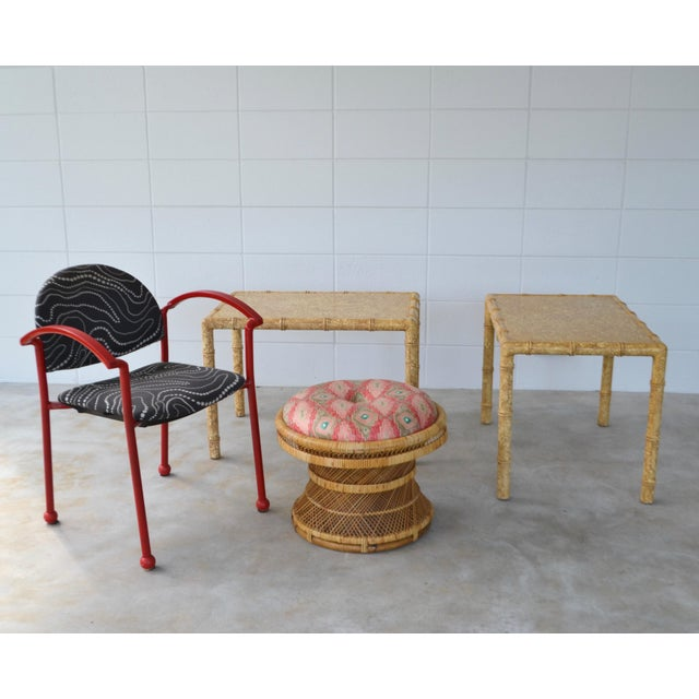 Stunning natural woven rattan round stool, circa 1960s. This striking Mid-Century stool is designed of an intricately...