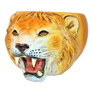 1970s Vintage Majolica Italian Lion Head Planter For Sale