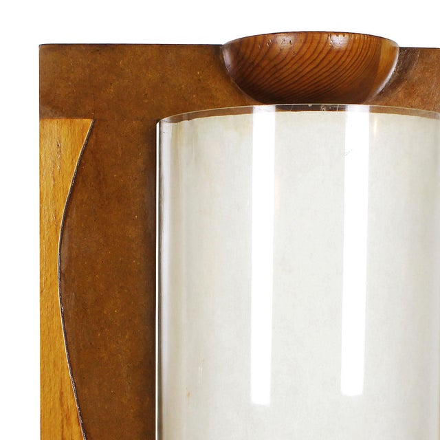 1980s 1980 Table Lamp, Mdf, Beech and Pine Woods, Plexiglass and Parchment - Spain For Sale - Image 5 of 9