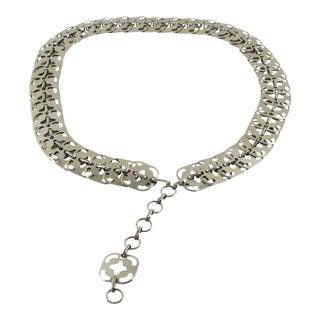 1960s Vintage Paco Rabanne Silvered Metal Link Chain Waist Hip Belt For Sale