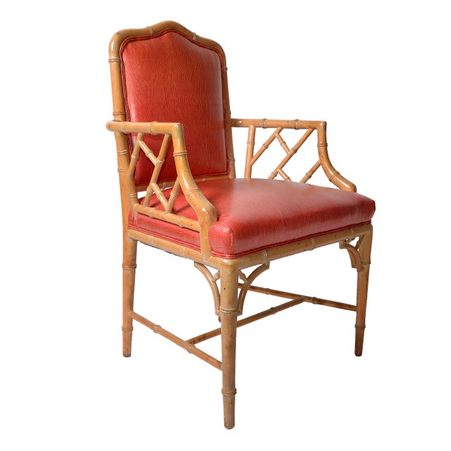 Faux Bamboo Chinese Chippendale Vinyl Chairs - Set of 8 - Image 2 of 10