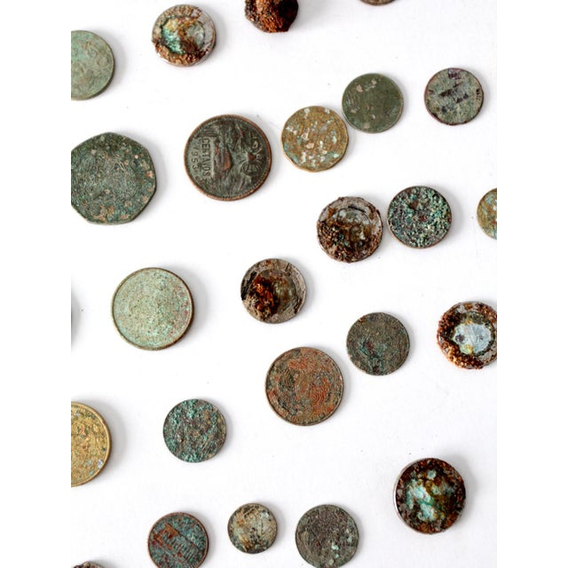 Metal Vintage Oxidized Coin Collection For Sale - Image 7 of 11