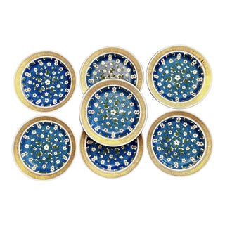 1870s Wedgwood Blossoms & Greek Key Plates - Set of 7 For Sale