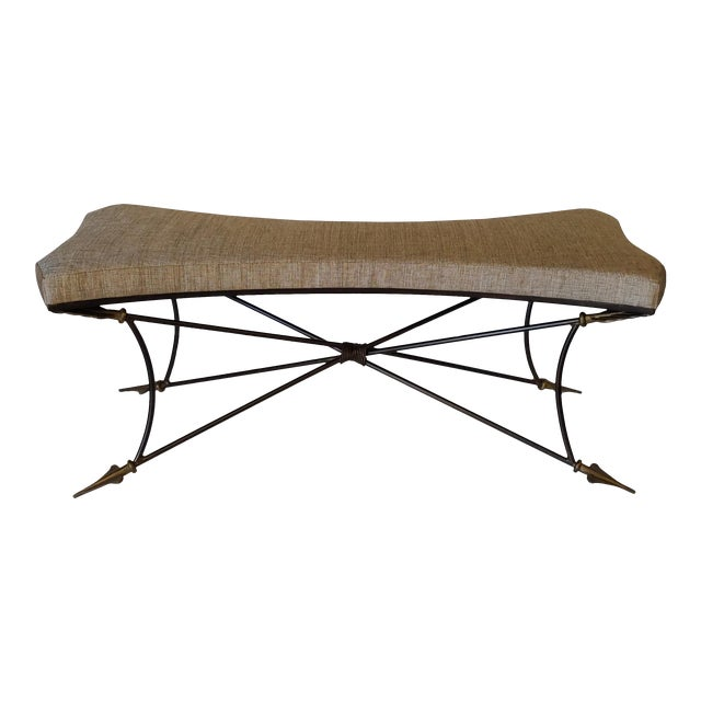 Newly Upholstered Bench With Neoclassical Style Base For Sale