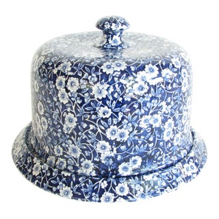 Vintage Crownford Staffordshire Blue White Calico Round Lidded Cheese Dish For Sale