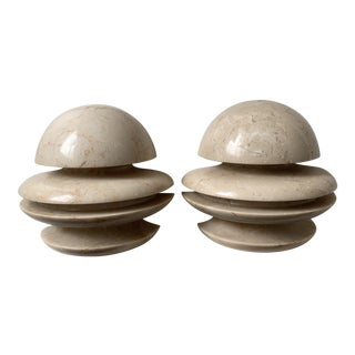 Vintage Tan Stone Bookends - a Pair For Sale