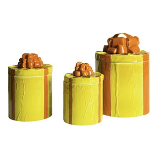 Mancioli Trompe l'Oeil Canisters - Set of 3 For Sale
