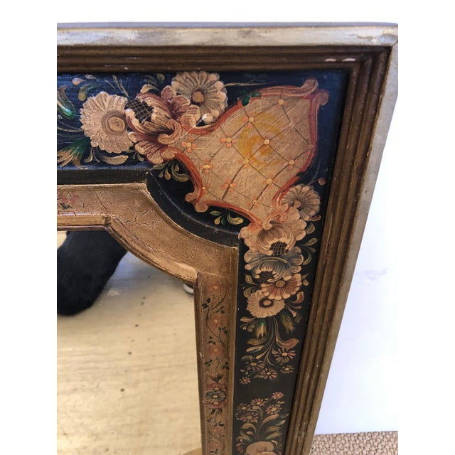 Richly decorative hand painted Venetian mirror having raised scalloped interior frame, aged craquelure and a gorgeous...