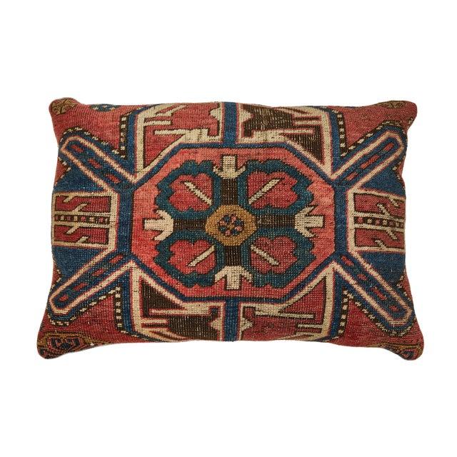 Early 20th Century Antique Kazak Carpet Pillow For Sale - Image 5 of 8