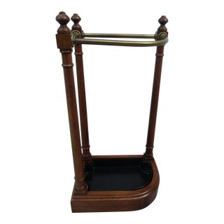 20th Century English Traditional Mahogany and Brass Umbrella Stand For Sale