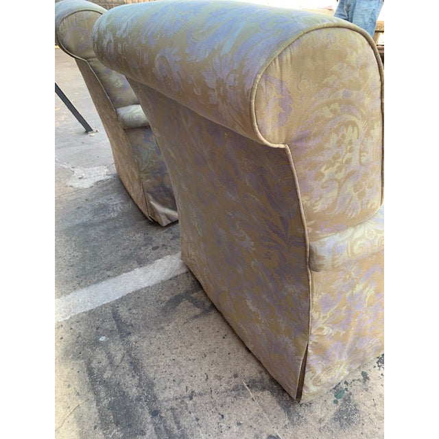 1990s Pair of Italian Fortuny Swivel Chairs For Sale - Image 5 of 10