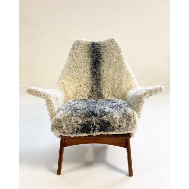 Mid-Century Modern Adrian Pearsall for Craft Associates Chair Restored in Gotland Sheepskin For Sale - Image 3 of 11